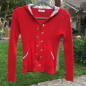 🌺 Burberry London; Red, Zip Sweater Misses XXS/XS